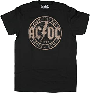 Seven Times Six AC/DC Men's High Voltage Rock & Roll 1975 Graphic T-Shirt Black