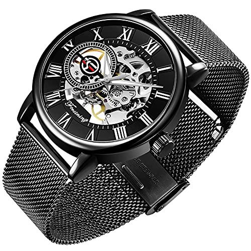 Herren Skelett Klassische römische Ziffer Steampunk Mechanische Uhr Handaufzug Herrenuhr (schwarz)