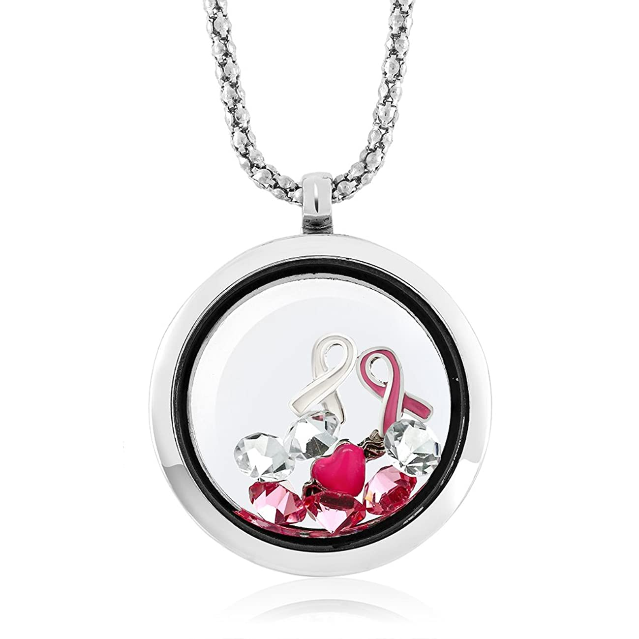 Gem Stone King Breast Cancer Awareness Floating Ribbon Multi-Colored Crystals Locket Pendant Necklace with 24 Inch Chain