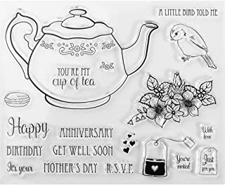 MaGuo Tea Mug Clear Stamps Happy Mother's Day Anniversary for DIY Scrapbooking Photo Album Card Making Decorative