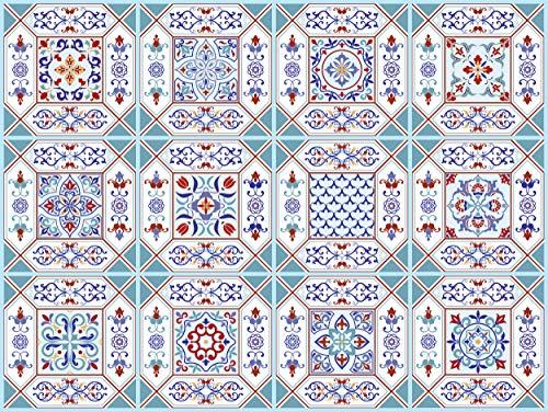 The Nisha 24 PC pegatinas para pared Adhesivo de Pared Salpicadero de Vinilos Azulejos Adhesivos Arte Ecléctico para la Cocina & Baño, 10x10 cm, Nottingham