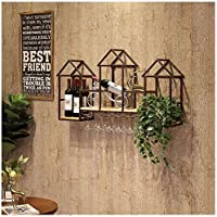 壁掛けワインぶら下げワイン手彫り金属木製ワイングラスホルダー110x60x20cm(色:茶色)