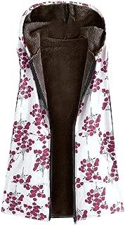 UUYUK Women Winter Fleece Floral Print Hoodies Sleeveless Gilet Vest Coat