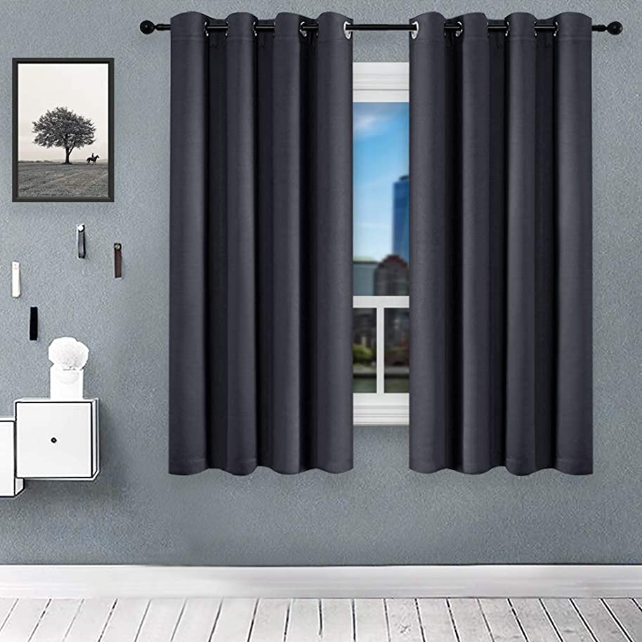 KEQIAOSUOCAI Blackout Window Curtains Room Darkening Blackout Curtain Set Thermal Insulated Grommets Drapes for Bedroom/Kitchen 2 Panels,63 inch, Grey