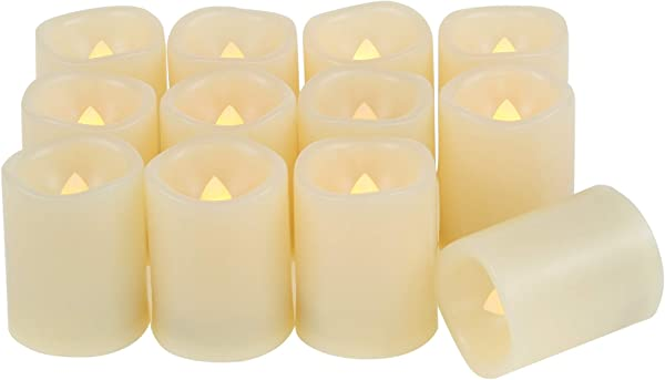 Candle Choice Set Of 12 Flameless Candles Flameless Votive Candles LED Votives With Timer Battery Operated LED Candles With Timer Long Battery Life 200 Hours Battery Included