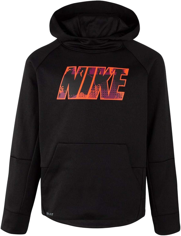 Nike Therma Boys Black & Neon Orange Hoodie Sweatshirt Dri-Fit Jacket