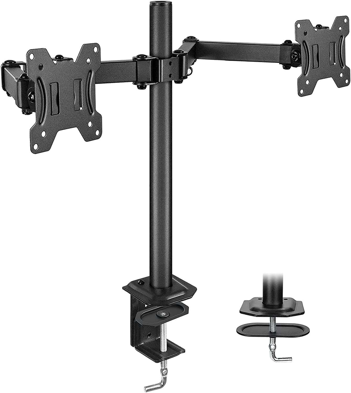 HUANUO Dual Monitor Stand for 13-27 inch Screens, Heavy Duty Fully Adjustable Monitor Desk Mount, VESA Mount with C Clamp, Each Arm Holds 4.4 to 22.4lbs