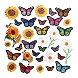 Embroidered Flowers Iron on Patches for Clothing,33PCS Sew on Sunflower Butterfly Applique for Clothes Dress Plant Hat Jeans