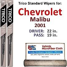 Wiper Blades for 2001 Chevrolet Malibu Driver & Passenger Trico Steel Wipers Set of 2 Bundled with Bonus MicroFiber Interior Car Cloth