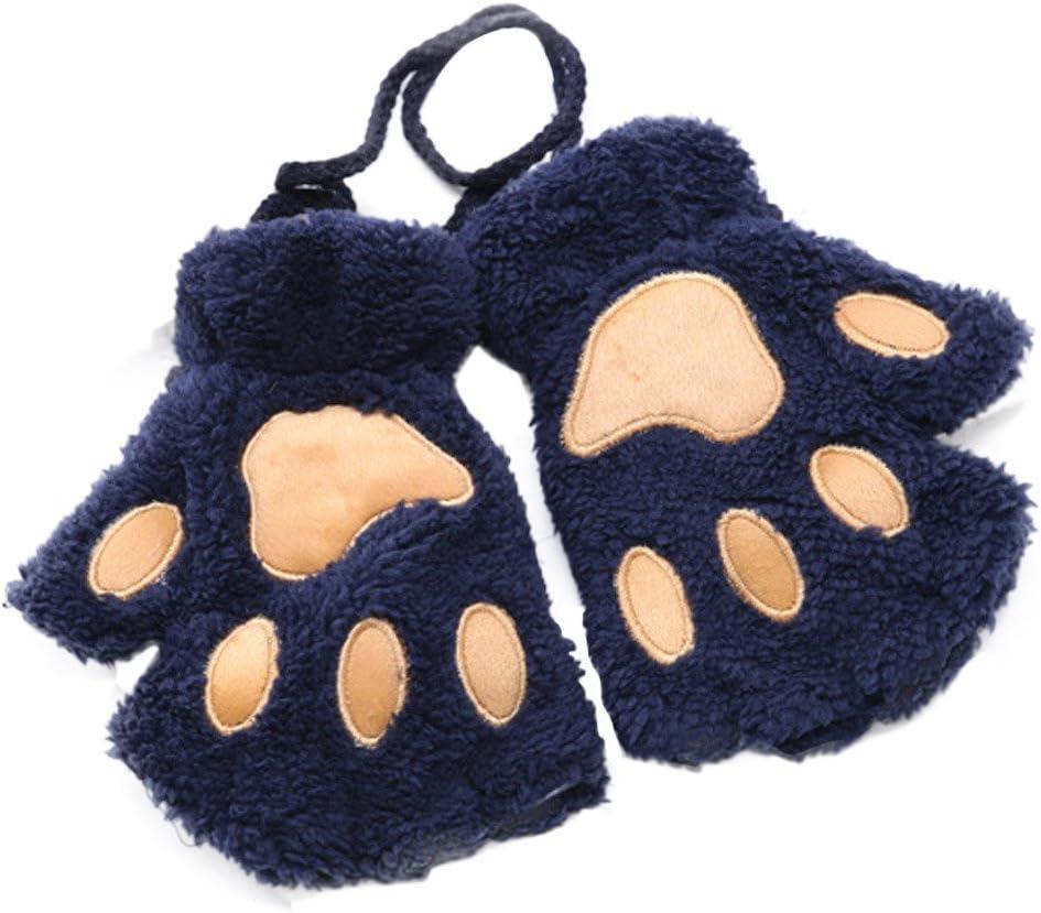 UIUYA Womens Cat Paw Gloves Winter Plush Faux Fur Cute Kitten Fingerless Mittens