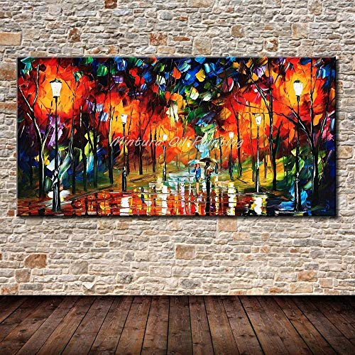 SHYHSCLBD olieverfschilderij op canvas handgeschilderd, abstracte kunst spatel grote cognac op straatrand hout, olieschilderij wand kunst schilderij voor woonkamer slaapkamer restaurant Home Decor 80×160cm