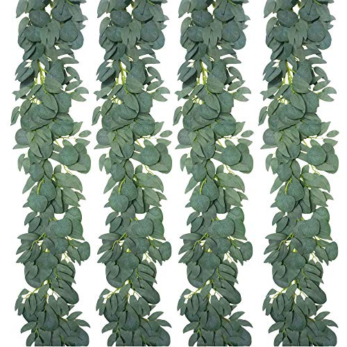YUESUO 4 Pack 6.5 Feet Faux Silver Dollar Eucalyptus and Willow Vines Twigs Leaves Garland String for Doorways Greenery Garland Table Runner Garland Indoor Outdoor.