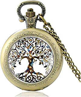 New Vintage Bronze Tree of Life Design Quartz Glass Dome Pocket Watch Men Women Clock Chain Jewelry Yang (Color : Bronze)