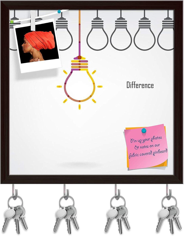 Artzfolio Creative Light Bulb Key Holder Hooks   Notice Pin Board   Dark Brown Frame 16 X 16.1Inch