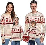 Abollria Suéteres Navideños Jersey de Navidad Pullover de Punto de Renos Christmas Sweater de árbol de Navidad para Mujer Familia Hombre Nina Niño
