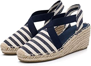 COCNI Fashion Stripes Women Espadrilles Leisure Wedge Sandals Ankle Strap Muffin Shoes Summer Comfortable Platform Wedges Non Slip Women High Heel Shoes Wild Slippers Flip Flop