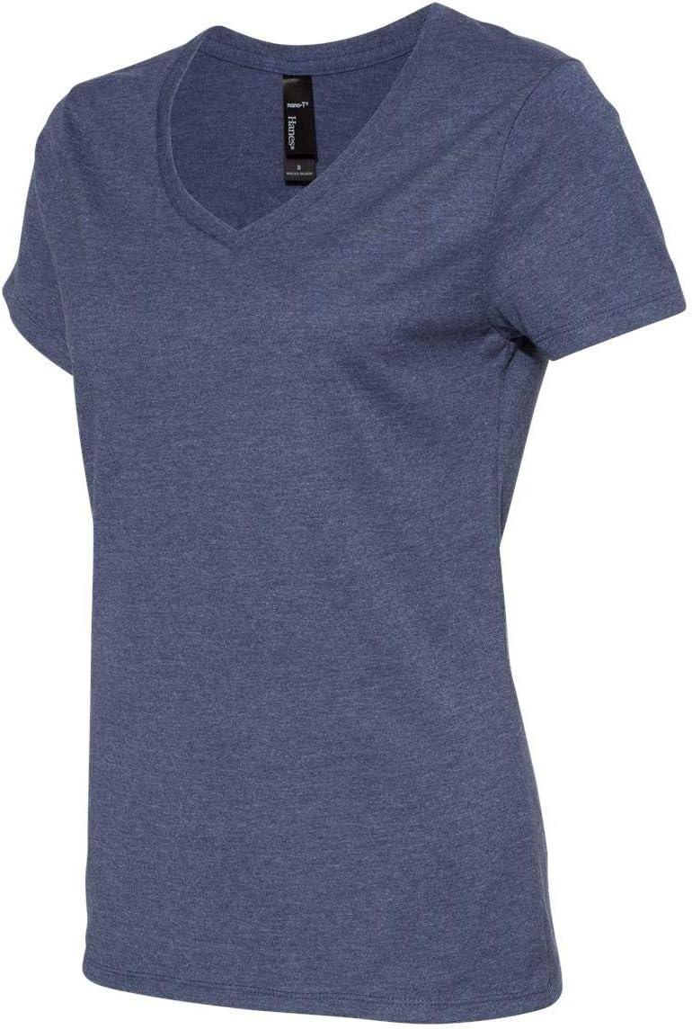 4.5 oz. 100% Ringspun Cotton Nano-T V-Neck T-Shirt (S04V) Heather Navy, XL