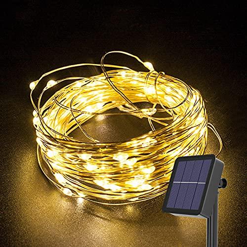Gresonic Solar Kupferdraht Lichterkette Außen,100 LED Warmweiß Wasserdicht 8 Modi Solarlichterkette für Garten Terrasse Balkon Bäume,Lichtdraht Aussen Beleuchtung Deko zur Party Hochzeit Weihnachten