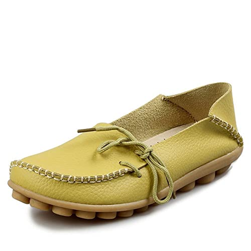 9d76cb55661 iLory Women s Casual Flat Shoes Leather Loafers Comfortable Driving Shoes  Boat Shoes