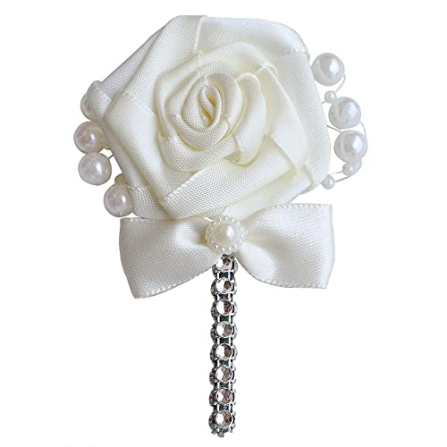 Wedding Corsage Groom Boutonniere Cream Ribbon Rose Flower Crystal Rhinestone Pearl Beaded Brooch with Bowknot Cream, Pack of 1
