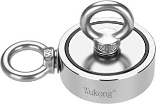 Wukong Double-Sided Fishing Magnets, Round Neodymium Magnet with Eyebolt, Combined 960 LBS Pulling Force, 2.95