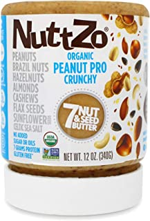 NuttZo Organic Crunchy Peanut Pro Seven Nut & Seed Butter, 12 Ounce