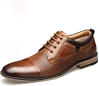 Oxfords for Men Fashion Dress Shoes Lace up Wedding Genuine Leather Flat Round Toe Low Top Rubber Outsole Stitch Anti-slip` Khouses (Color : Brown, Size : 50 EU)
