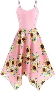 Aniywn Plus Size Spaghetti Straps Swing Dress Women Sunflower Print Irregular Hem Party Dress