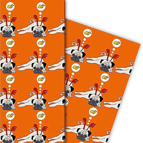 Designer Geschenkpapier Set (4 Bogen) | Dekorpapier mit Weihnachts Mops und Hendl, orange, für tolle Geschenk Verpackung und Überraschungen zu Nikolaus, Advent, Weihnachten u.v.m. 32 x 48cm