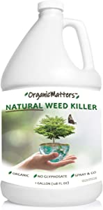 OrganicMatters Natural Weed Killer Spray, No Glyphosate, Results in Less Than 24-Hours (128 oz Gallon)