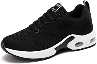 JLHY Women's Running Shoes Breathable Air Cushion Sneakers Athletic Gym Sports Walking Shoes Black