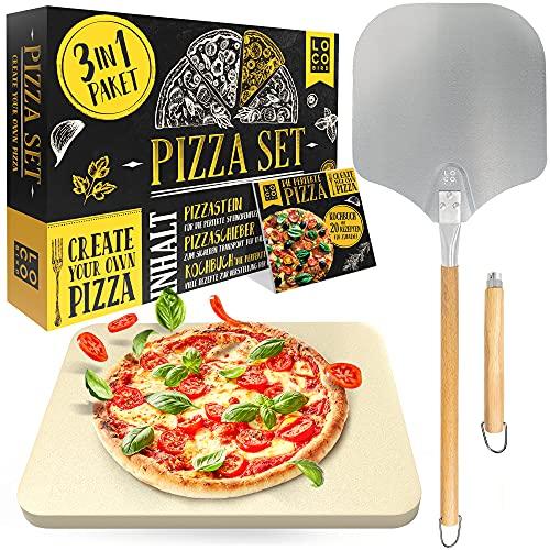 Loco Bird Pizzastein für Backofen & Gasgrill inkl. Pizzasschieber - 3er Set - Pizzastein rechteckig aus Cordierit für knusprigen Pizzaboden wie vom Italiener, Pizzaschieber...