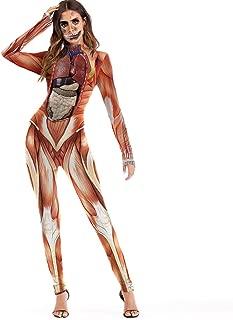 Halloween Women Pants Ladies Casual Scary Halloween Cosplay 3D Skull Viscera Blood Print Party Costume Jumpsuit