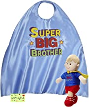 Big Brother Gift Set for Little Boys and Toddlers, Super Big Brother Doll with Cape and Child Size Super Big Brother Blue Superhero Cape with Gift Tag