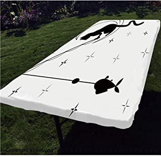 Modern Polyester Fitted Tablecloth,Cat Fishing with Long Tail Sitting on the Moon among Starry Sky Humor Sketch Art Decorative Rectangular Elastic Edge Fitted Table Cover,Fits Rectangular Tables 60x30