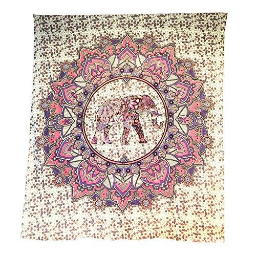 Tagesdecke Elefant im Lotuskreis Überwurf indische Decke Vorhang