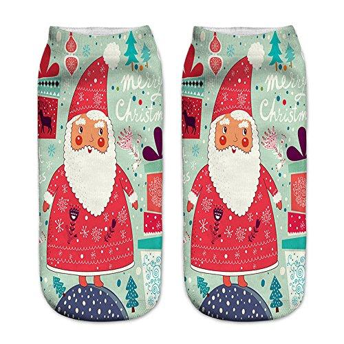 LoveLeiter Unisex Socks Weihnachts Socken Christmas Weihnachten Weihnachtssocken SchöN Frauen Socke Kurze SöCkchen Druck Sock Weihnachtsmotiv Damen Herren Strumpf Weihnachtssocke(J,Freie Größe)