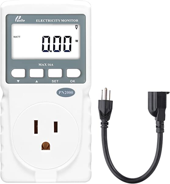 Poniie PN2000 Plug In Kilowatt Electricity Usage Monitor Electrical Power Consumption Watt Meter Tester W Extension Cord
