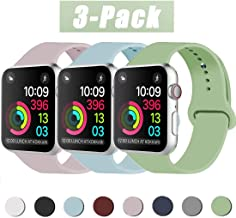 INZAKI Correa de Apple Watch 38mm 40mm 42mm 44mm, Reemplazo de Silicona Deportivo clásico Suave para iWatch Series 5/4/3/2/1, Nike +, Sports Edition, S/M, M/L