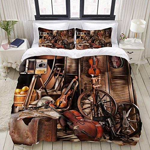 Nonun Duvet Cover,Western Music Themed Vintage Rustic Shed Wooden Wall Guitar Accordion Old Wheel Hub,Bedding Set Ultra Comfy Lightweight Microfiber Sets (3pcs)