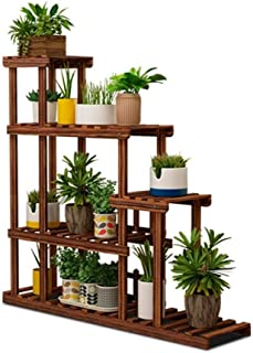 FJFSC Flower Rack Plant Stands Anti-Corrosion Multi-Layer Plant Display Racks Garden Wooden Shelving Brown Indoor/Outdoor ...