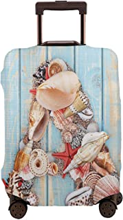 Travel Luggage Cover,Letter A With Seashells On Pale Wooden Board Invertebrates Animal Suitcase Protector