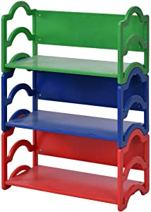 Costzon Kids Bookshelf, 3 Shelf Storage Rack, Toy Display Organizer Holder Bookcase