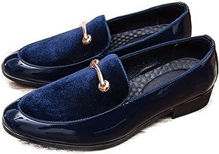 CAIFENG Moda para Hombres Oxford Casual Personalidad Costura Conveniente Anti-Rust MetalDecor Patente de Patente Loafer (C...