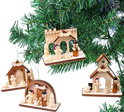 Brubaker 4-TLG. Set Krippen Holzanhänger - Baumschmuck Maria und Josef mit Jesus - Christbaumschmuck aus Holz - Handbemalt
