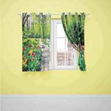 Bedroom windproof curtain Country Home Decor Collection Tulips in Keukenhof Gardens Path Along Colorful Flowers Nature Picture Bedroom balcony living room W72 x L63 inch Crimson Pink White Red Green