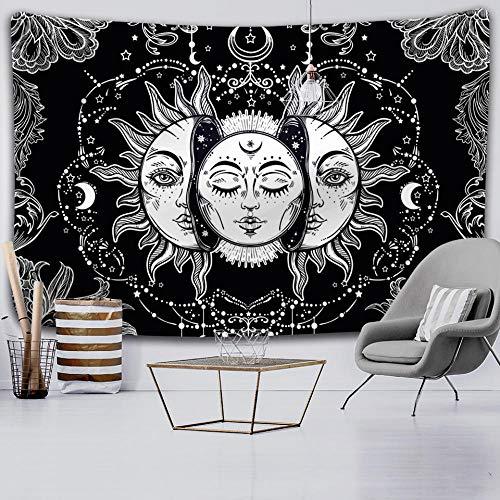 Yeephp Tapiz De Mandala De Sol Y Luna Blanco Y Negro Adecuado Para La Decoración De La Pared Del Hogar Del Artista De La Sala De Estar Del Dormitorio De La Habitación