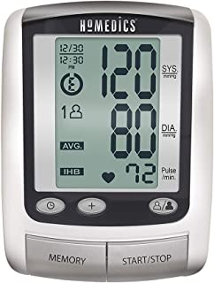 HoMedics Portable Deluxe Arm Blood Pressure Monitor with Smart Measure Technology, One-Touch Operation, 2 Cuffs, Memory Average –Battery Operated