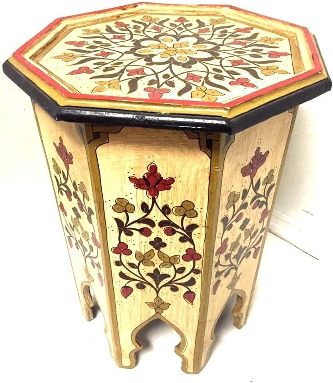 Mgoldccan Octagonal Hand Painted Accent Table Moorish Design Furniture (Beige)