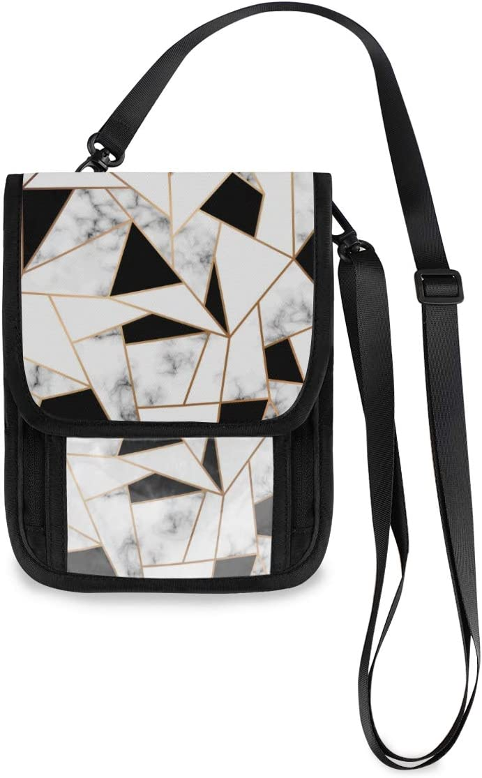 KUWT Travel Neck Wallet Marble Design Manufacturer OFFicial shop H Geometric Passport Sale item Lines